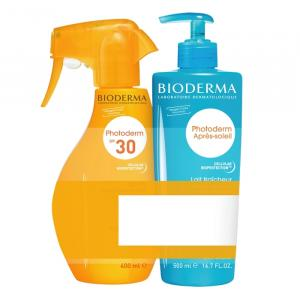 BIODERMA Photoderm zestaw Spray SPF 30 400ml + Balsam po opalaniu 500ml - data 11.2020